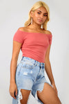 Off The Shoulder Rose Pink Ribbed Knit Top - bejealous-com