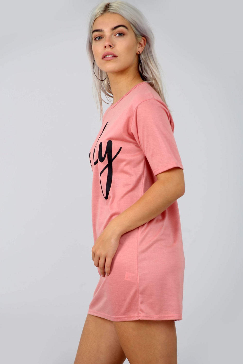 Mian Oversized Wifey Slogan Print Night Dress - bejealous-com