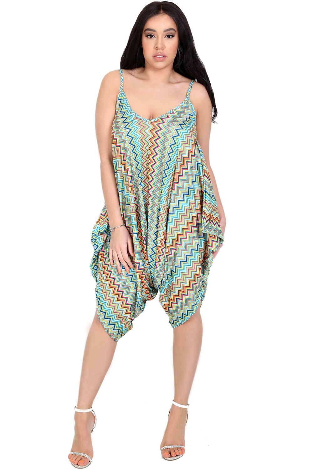 Strappy Draped Harem Jumpsuit in Aztec Print - bejealous-com