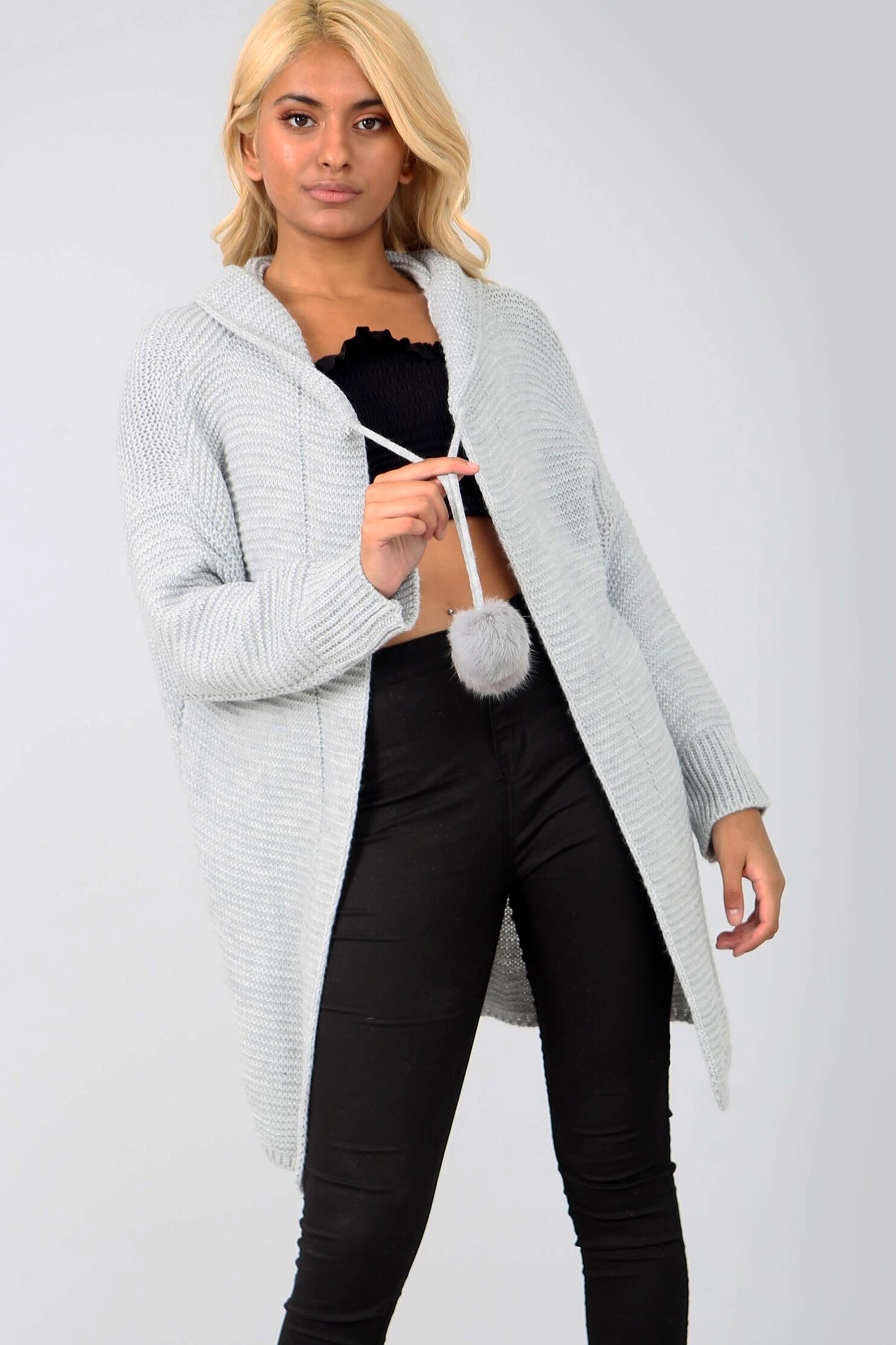 Pom Pom Long Sleeve Grey Hooded Cardigan - bejealous-com
