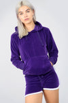 Purple Faux Velvet Oversize Hooded Coord Set - bejealous-com