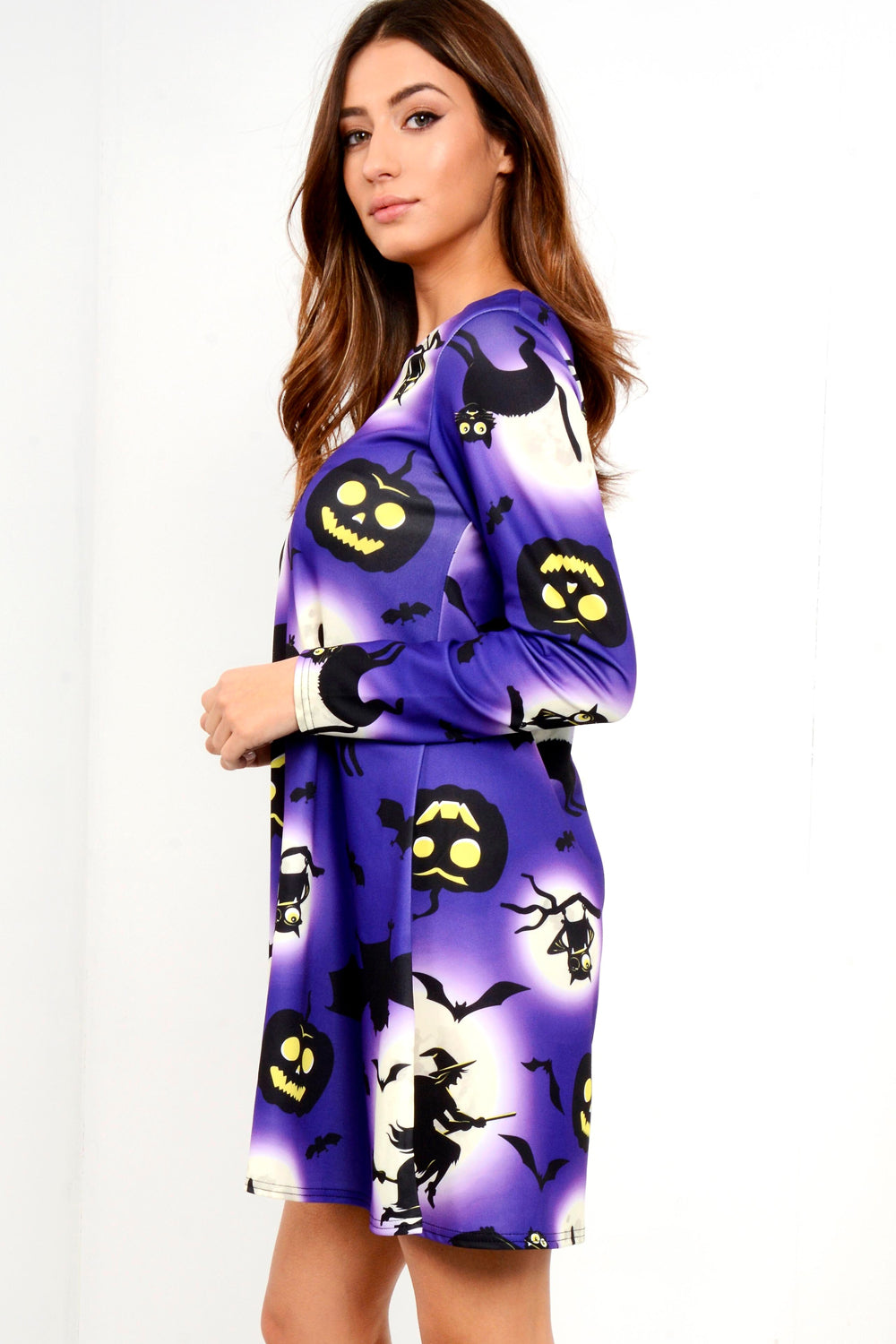 Long Sleeve Halloween Pumpkin Dress - bejealous-com