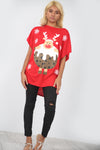 Christmas Pudding Print Red Oversize Tshirt - bejealous-com