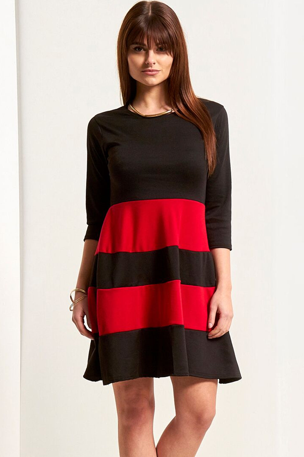 Cropped Sleeve Colour Block Mini Skater Dress