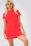 Basic Short Sleeve Tshirt Dress in Coral Pink - bejealous-com