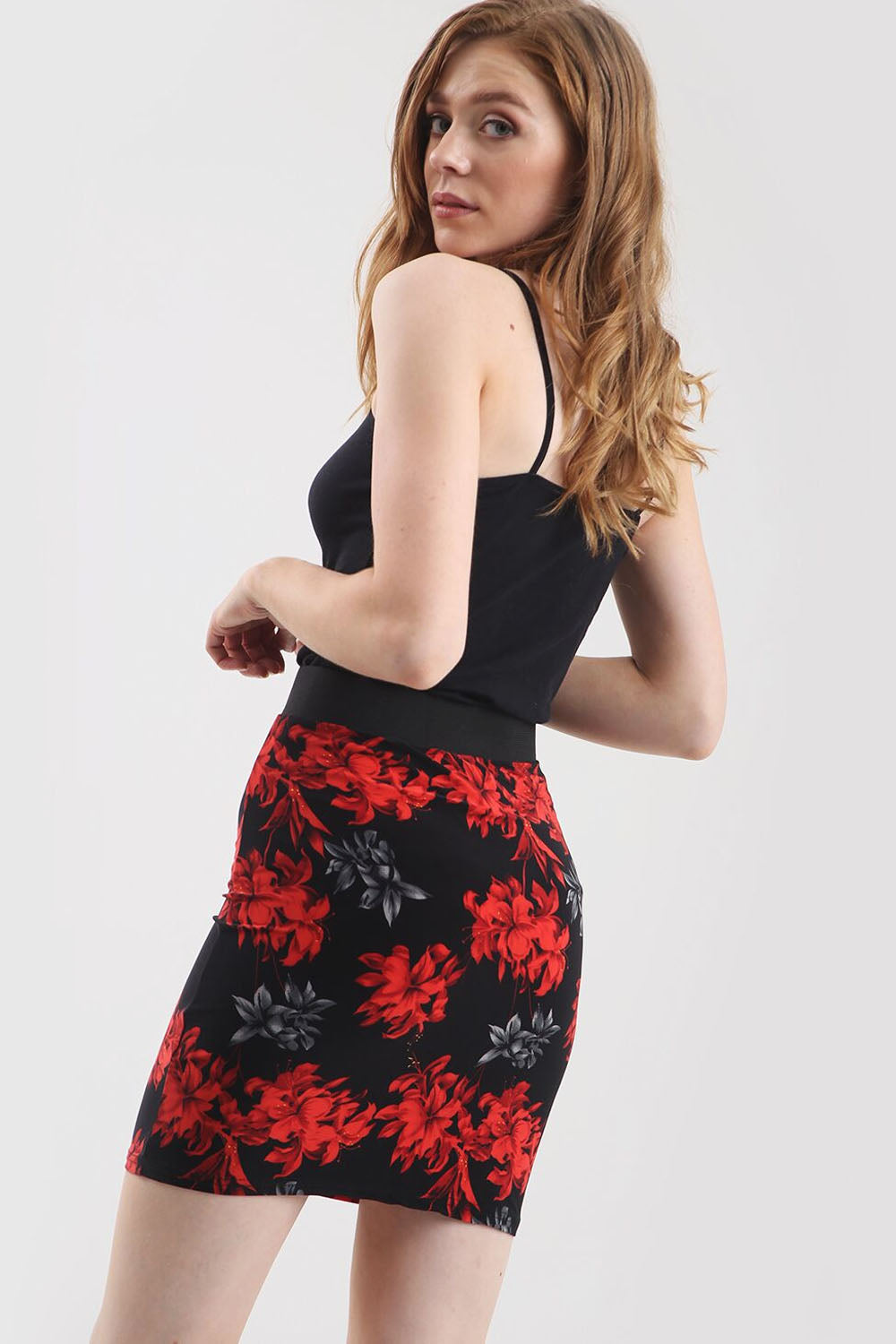 High Waisted Red Floral Print Mini Tube Skirt - bejealous-com