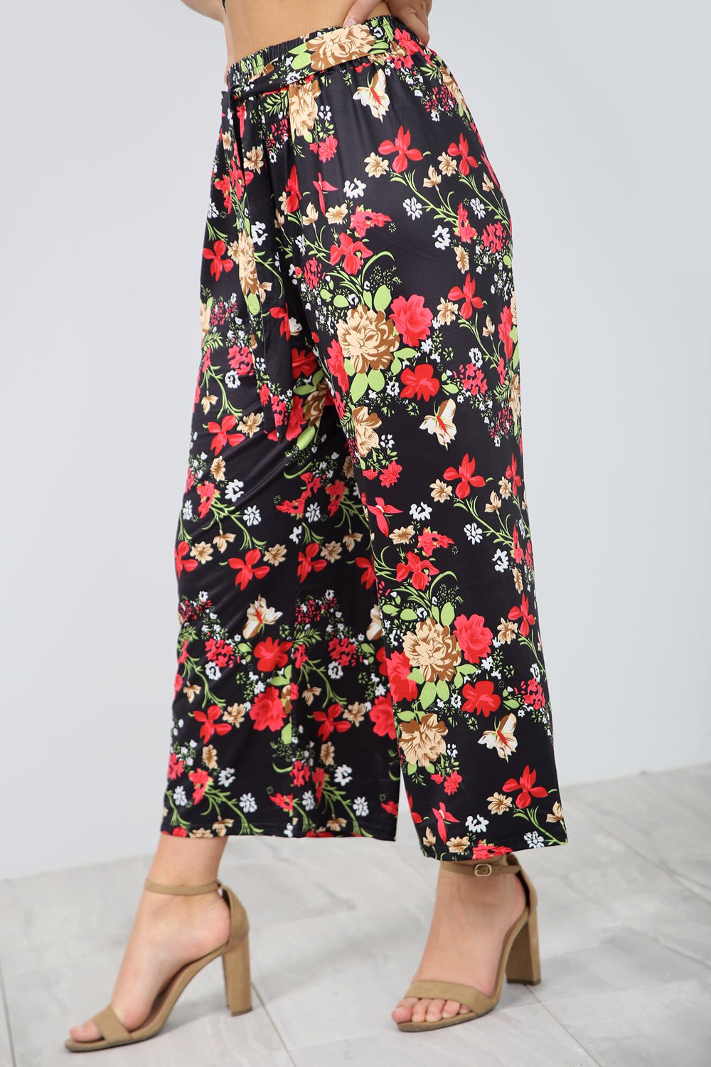 High Waist Floral Print Cropped Leg Trousers - bejealous-com