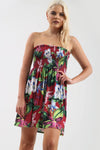 Navy Floral Print Strapless Mini Dress - bejealous-com