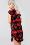Red Floral Print Curved Hem Baggy Tshirt Dress - bejealous-com