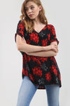 Red Floral Print Oversize Turn Up Sleeve Tshirt - bejealous-com