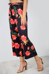 High Waist Floral Print Cropped Leg Pants - bejealous-com