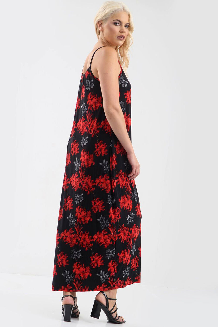 Red Floral Print Loose Fit Strappy Maxi Dress - bejealous-com