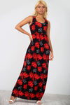 Sleeveless Red Floral Maxi Dress With Pockets - bejealous-com