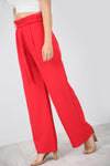 High Waist Red Paper Bag Wide Leg Trousers - bejealous-com