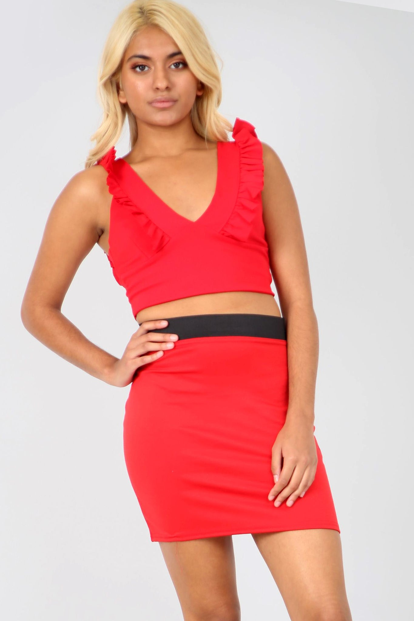 High Waist Red Basic Mini Tube Skirt