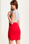 High Waisted Ribbed Red Mini Wrap Skirt - bejealous-com