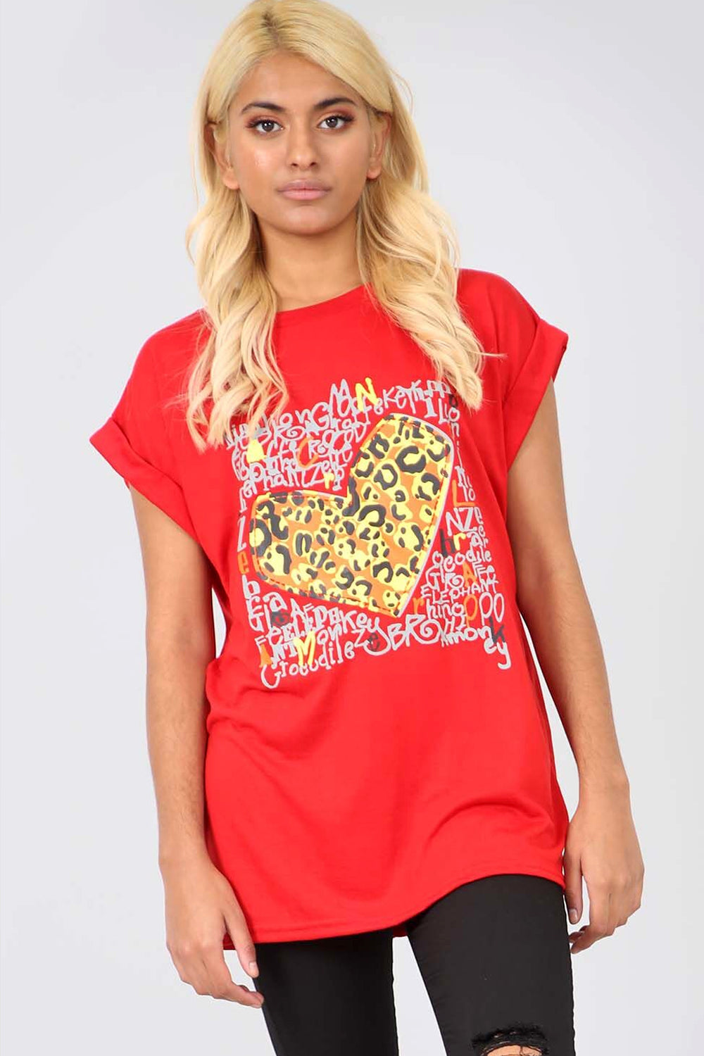 Leopard Graphic Print Red Baggy Tshirt