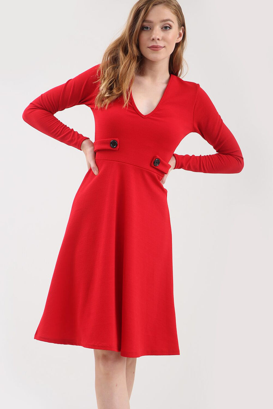 Long Sleeve Button Flared Midi Skater Dress - bejealous-com