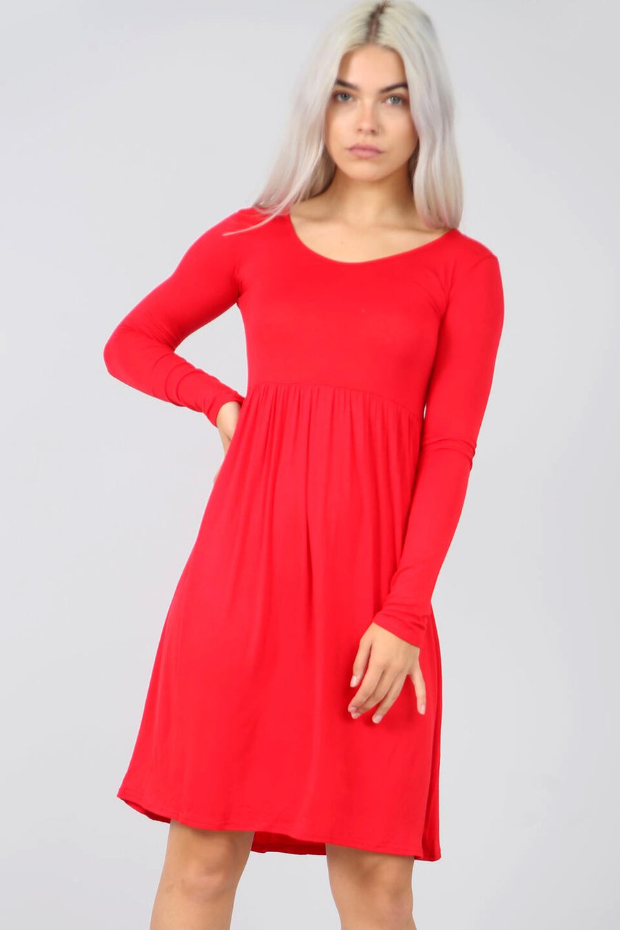 Long Sleeve Basic Red Midi Swing Dress - bejealous-com