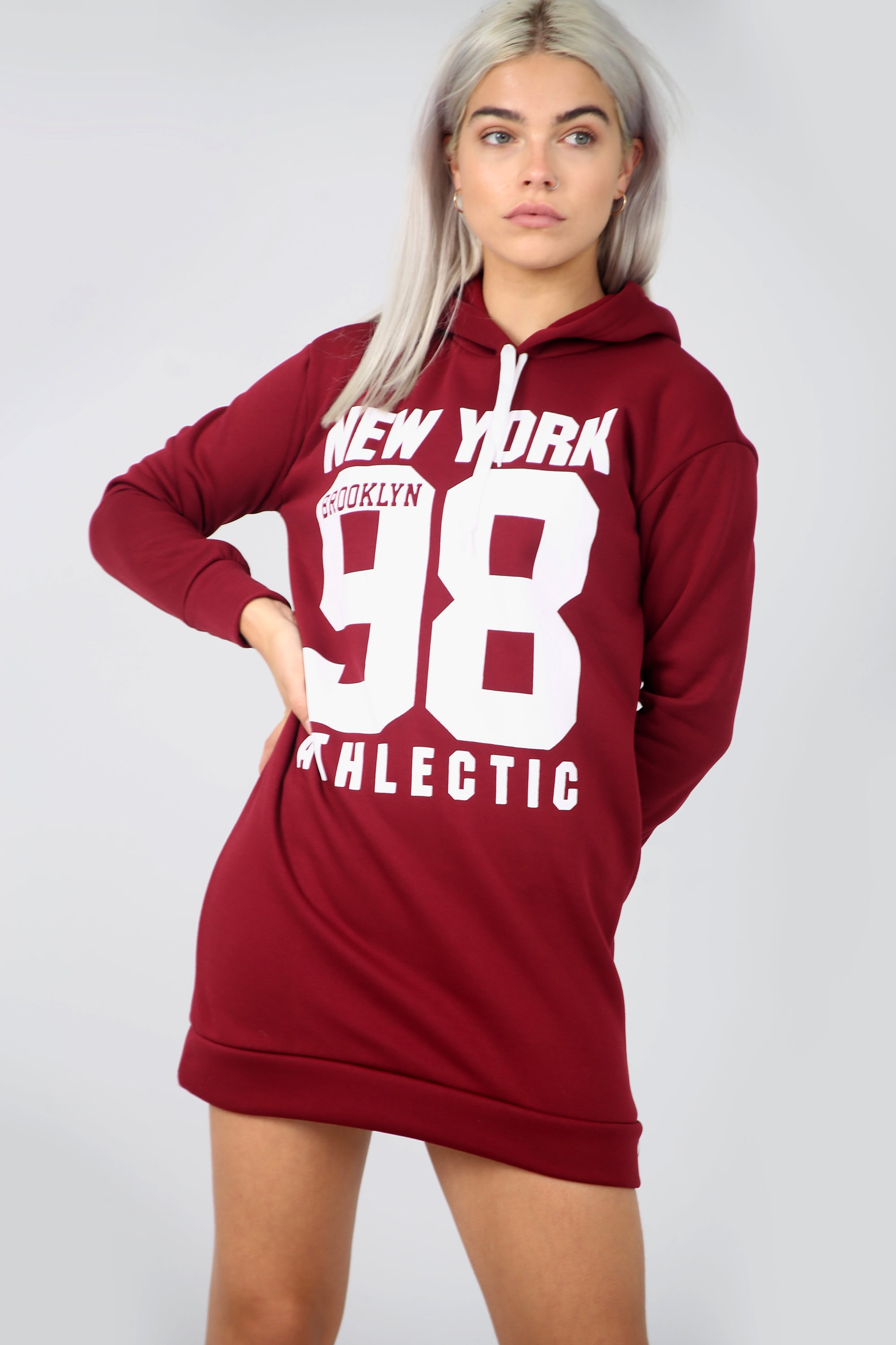Red New York Slogan Print Mini Sweatshirt Dress - bejealous-com