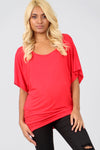 Oversized Red Plain Basic Bat Wing Tshirt - bejealous-com