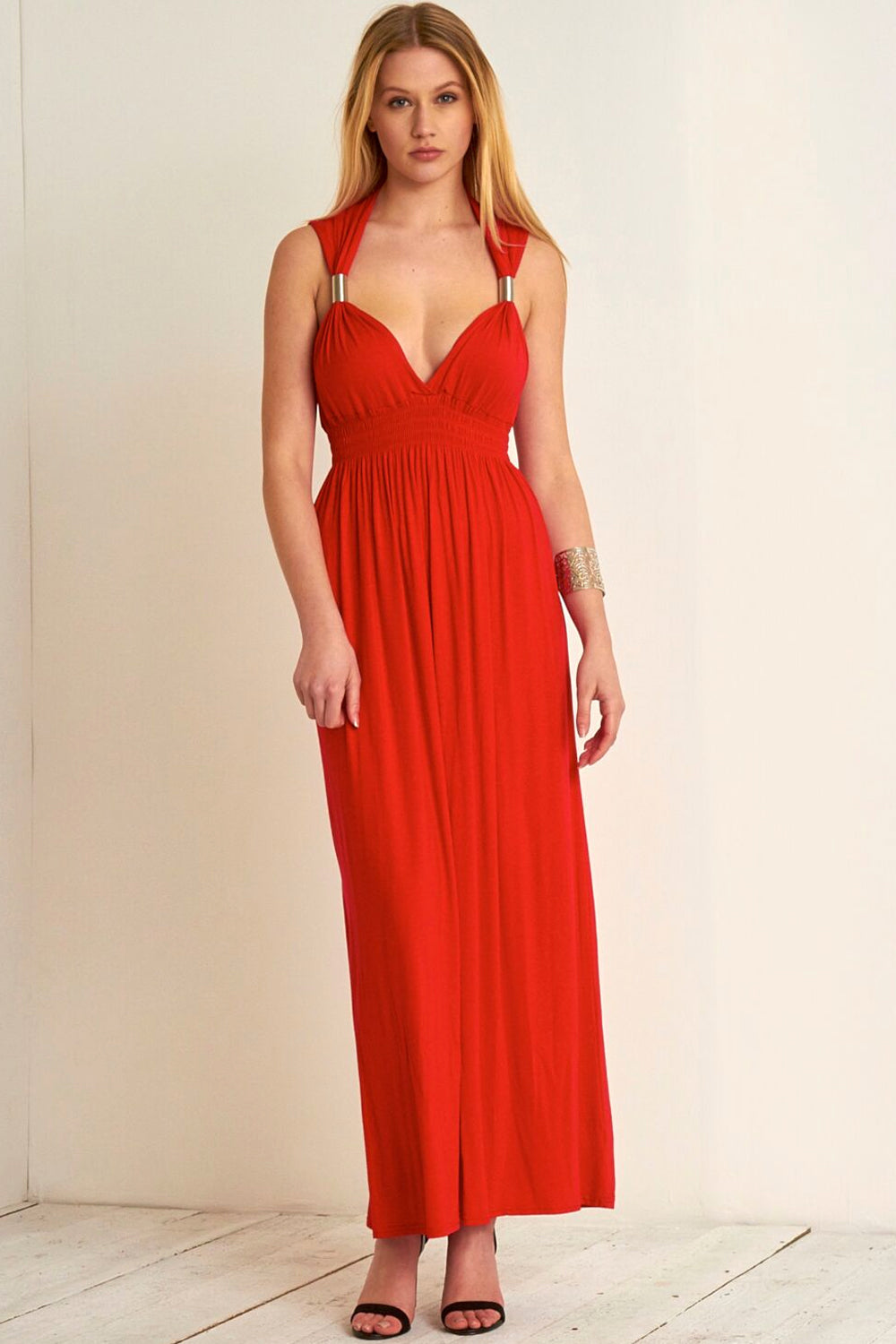 Chunky Strap Plunge Neck Red Maxi Dress - bejealous-com