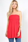 Shirring Bardot Basic Red Swing Top - bejealous-com
