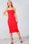 Strappy Basic Red Midi Bodycon Dress - bejealous-com