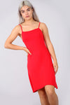Strappy Basic Jersey Mini Swing Dress in Red - bejealous-com
