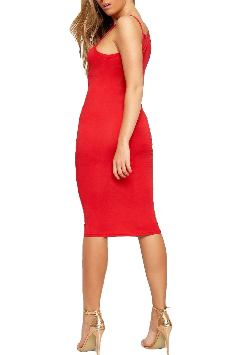 Strappy Red Basic Jersey Midi Bodycon Dress - bejealous-com