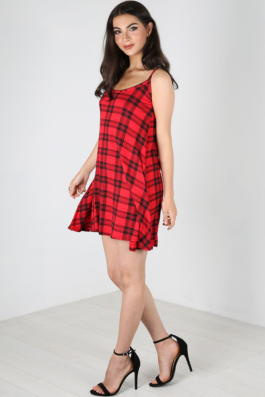 Strappy Red Tartan Mini Swing Dress