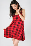 Strappy Red Tartan Mini Swing Dress - bejealous-com