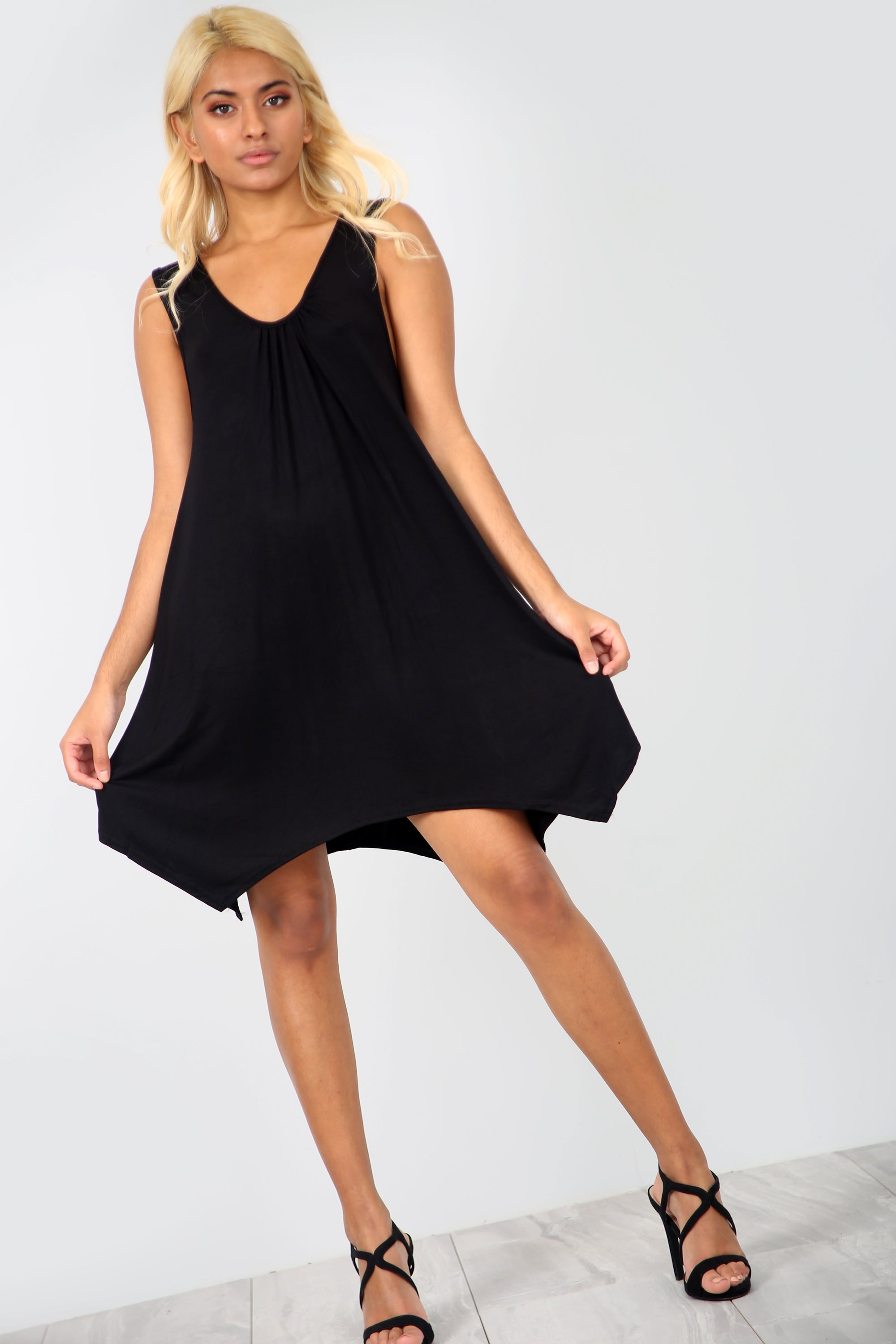 Sleeveless Hanky Hem Black Basic Mini Dress - bejealous-com