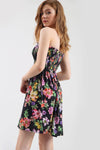 Tropical Print Strapless Shirring Mini Dress - bejealous-com