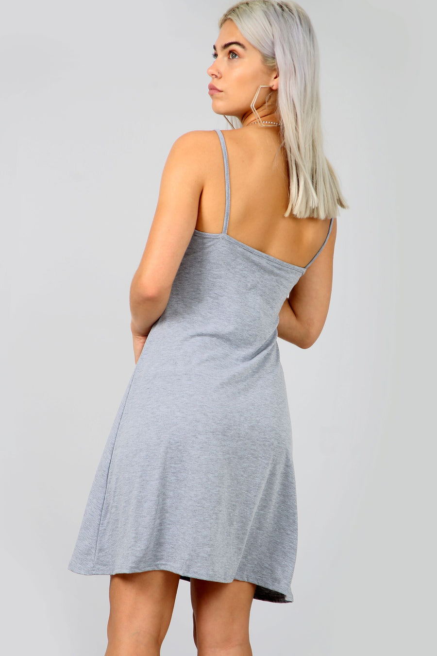 Strappy Basic Jersey Mini Swing Dress in Grey - bejealous-com