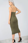 Strappy Basic Khaki Midi Bodycon Dress - bejealous-com