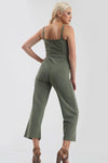 Gold Button Wide Leg Jumpsuit in Wine Red - bejealous-com