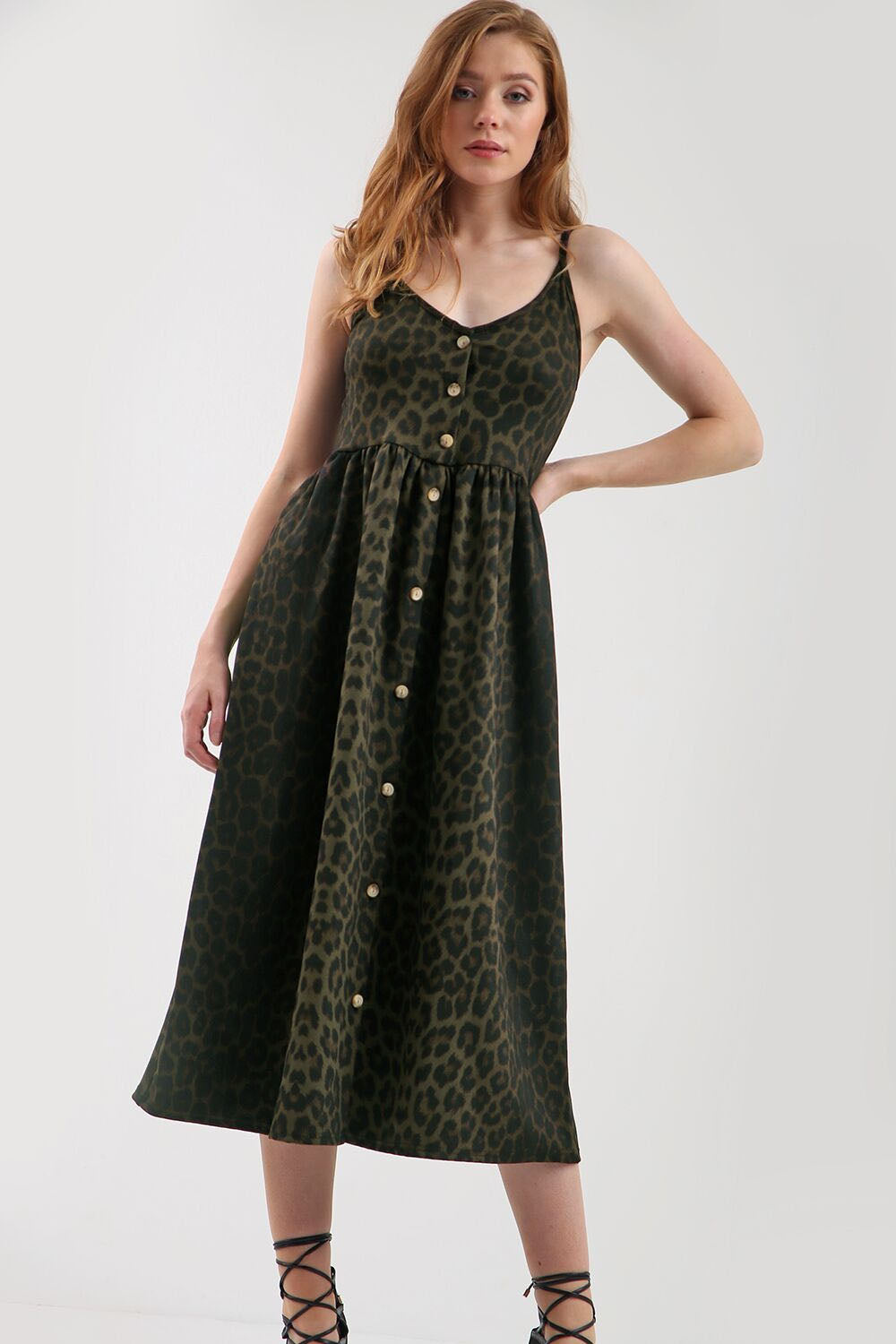 Breana Strappy Leopard Print Midi Swing Dress - bejealous-com