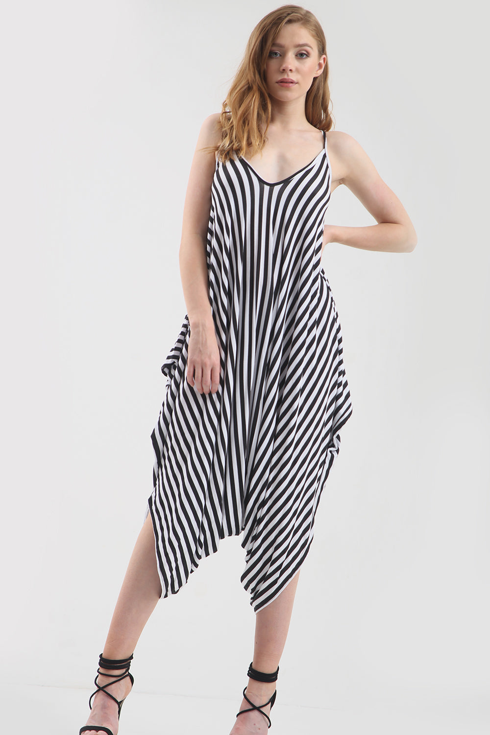 Strappy Monochrome Striped Harem Jumpsuit - bejealous-com