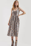Frankie Button Embellished Snake Print Midi Skater Dress - bejealous-com