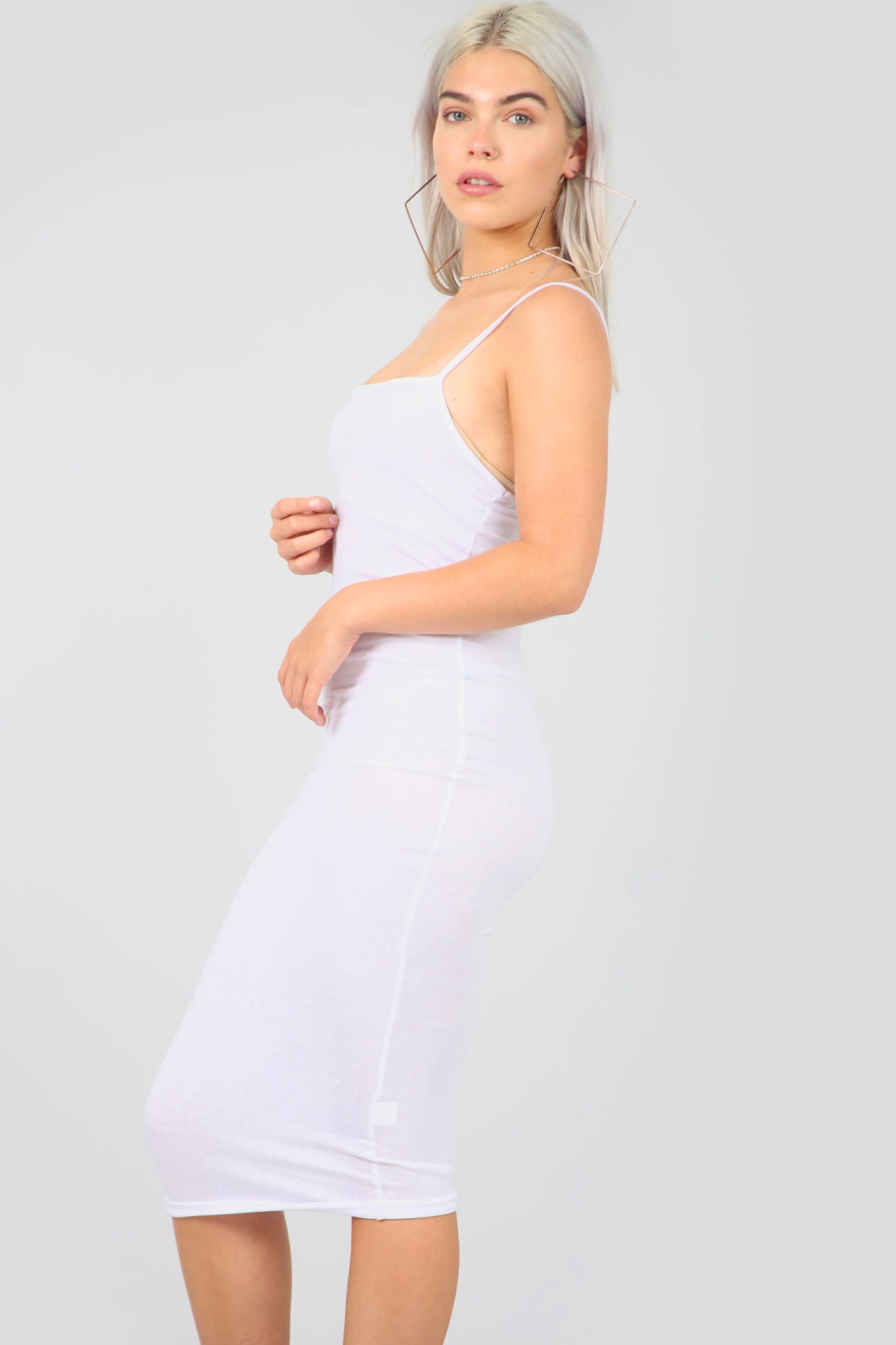 Strappy Basic White Midi Bodycon Dress - bejealous-com
