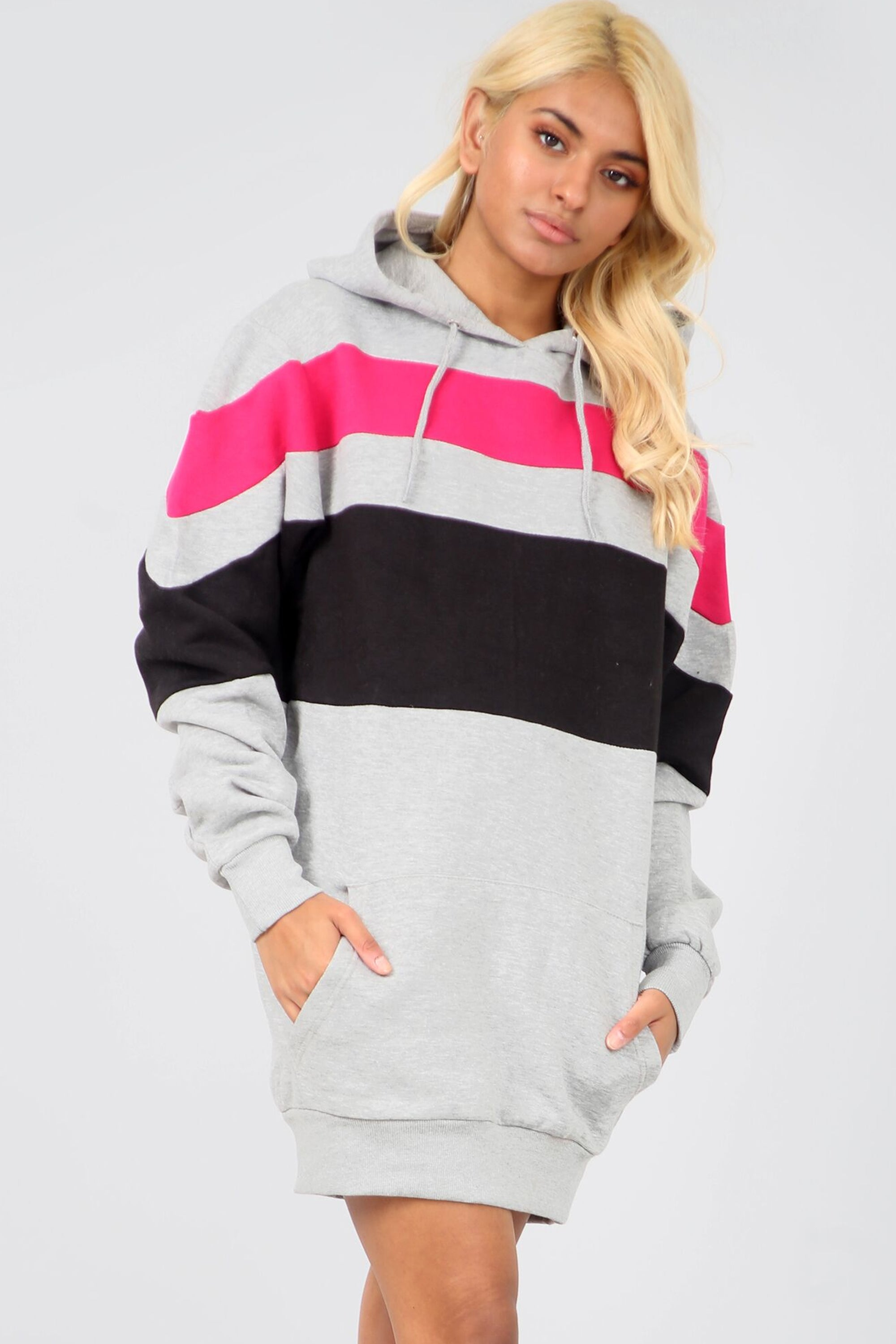 Black Contrast Striped Oversize Sweatshirt Dress - bejealous-com