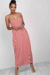 Strappy Red Striped Baggy Maxi Dress - bejealous-com