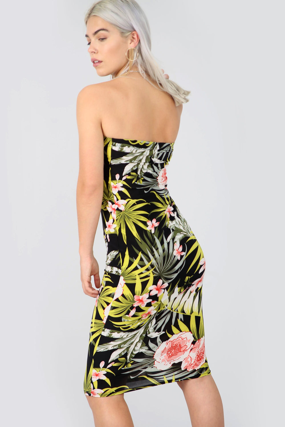 Bandeau Green Tropical Print Midi Tube Dress - bejealous-com