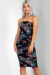 Bandeau Black Tropical Print Midi Bodycon Dress - bejealous-com