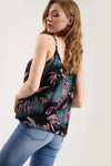 Strappy Gold Floral Print Black Swing Top - bejealous-com