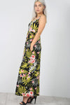 Sleeveless Racer Back Tropical Print Maxi Dress - bejealous-com