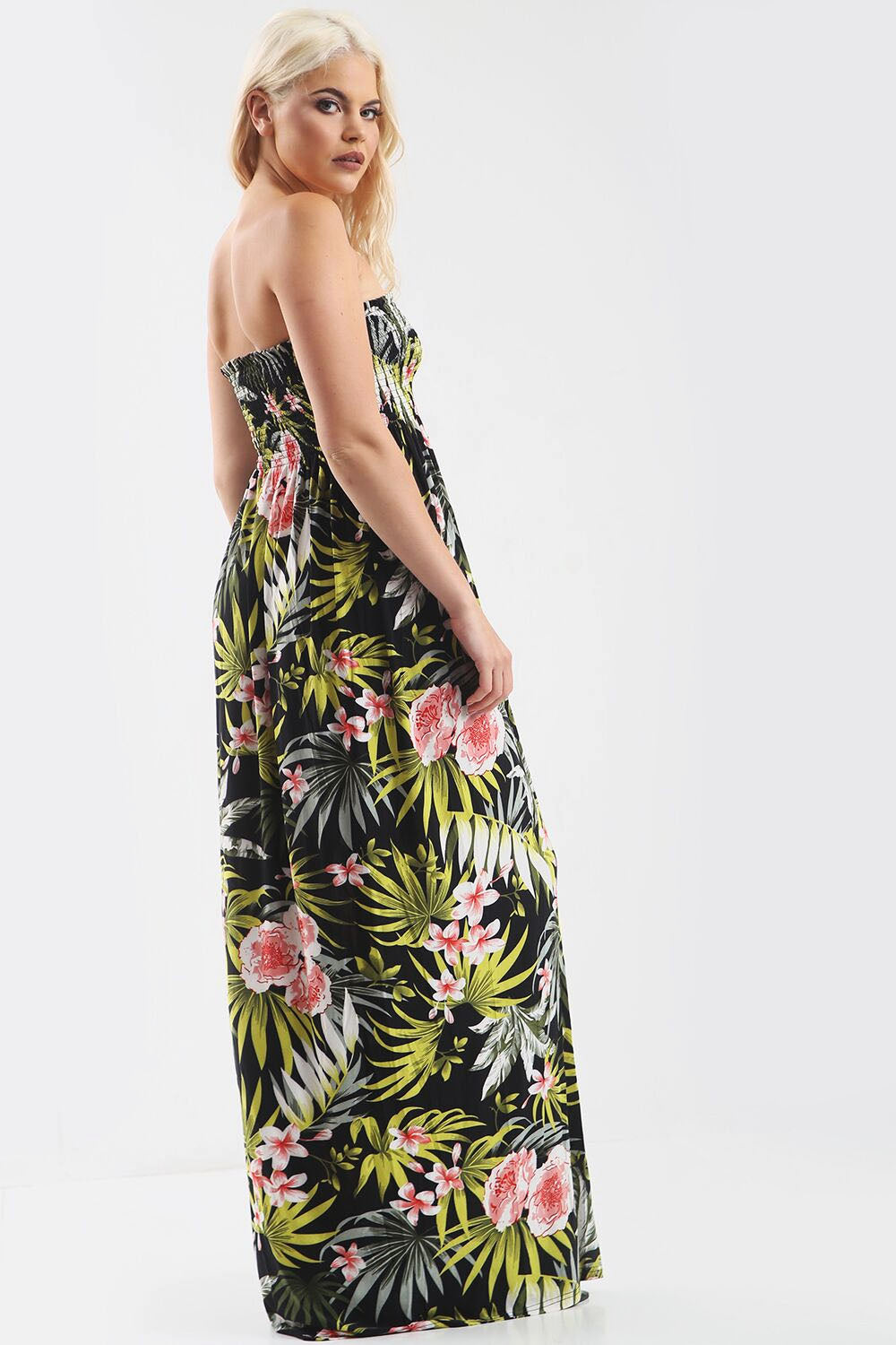 Green Leaf Tropical Print Strapless Maxi Dress - bejealous-com