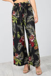 High Waist Belted Tropical Print Wide Leg Trousers - bejealous-com
