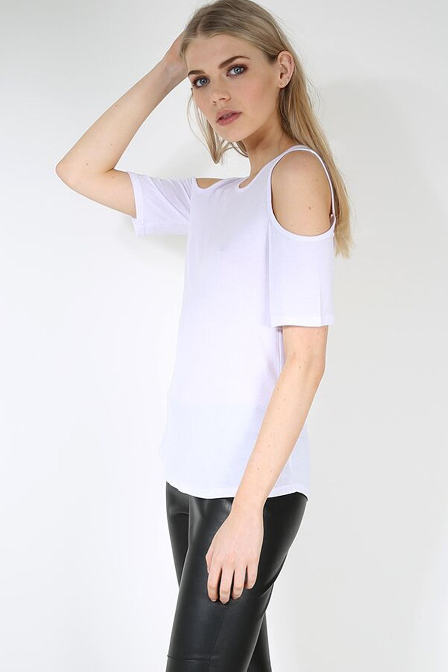 Short Sleeve Cold Shoulder Basic White Top - bejealous-com